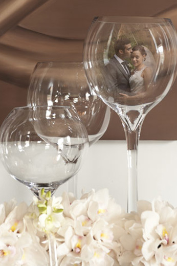 collage of newlyweds in champagne glass