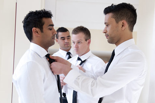 bridegroom prepares for ceremony