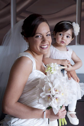portrait of bride and flowergirl before wedding