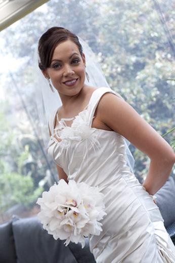bride portrait with window backlighting