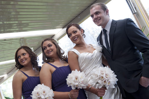 bride with brother and sisters