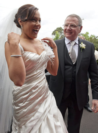 spontaneous laughter from bride before wedding