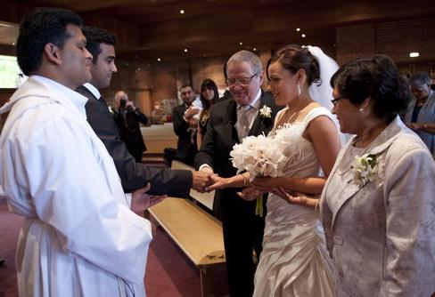 bride arrives at wedding ceremony
