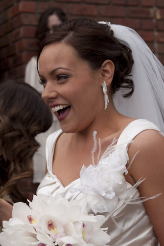 fun natural laughter from bride