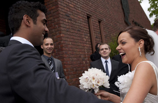 fun photography of bride and groom meeting after the wedding