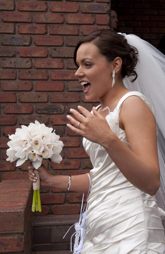 unposed picture of bride after wedding
