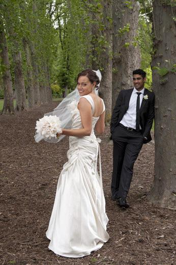 newlyweds fun photo in Fitzroy Gardens