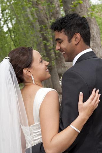 natural wedding portrait in gardens