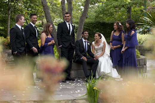 bridal party enjoy fun together