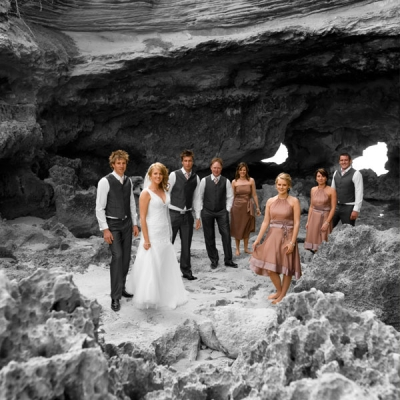 bridal party on beach part color, part black and white