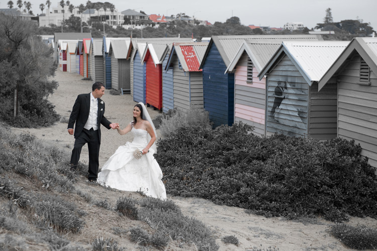 part color wedding photo Brighton beach boxes