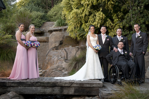 bridal party on the bridge at Potters garden