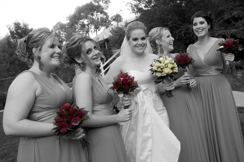 part color wedding photo of wedding girls in potters garden