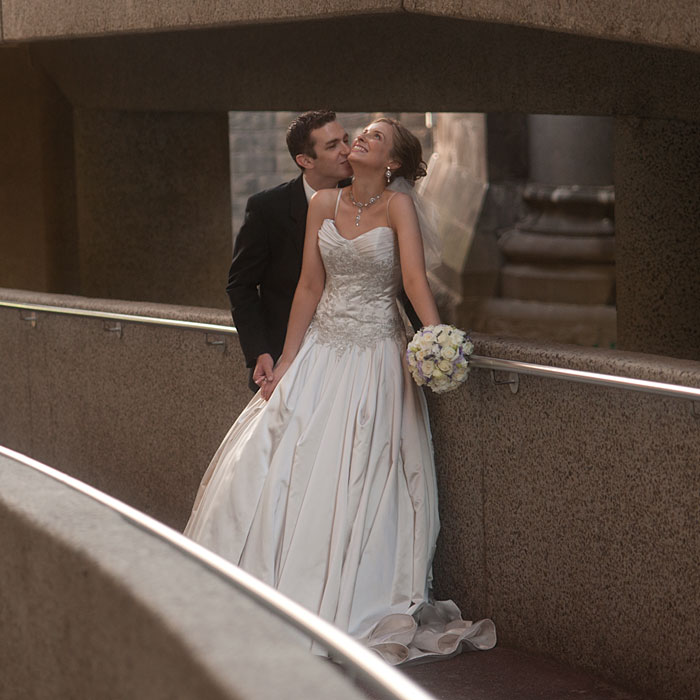 Bride with staircase in background Crown Metropol