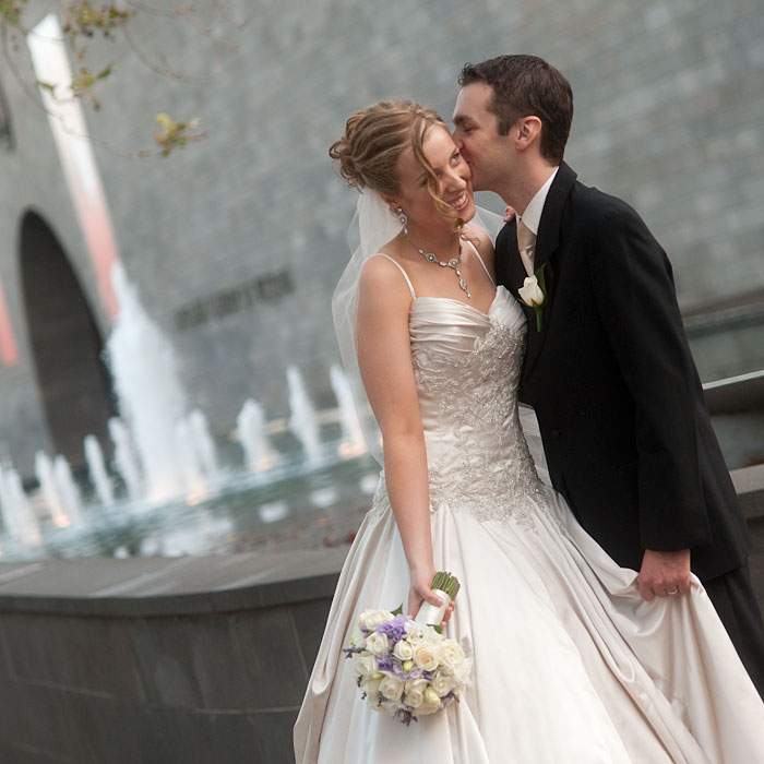 Wedding Photo of Melbourne in the Arts Precinct, featuring the National Gallery and fountain.