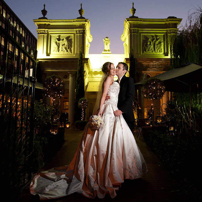 Photo of a bridal nightshot portrait outside the Willows Restaurant Melbourne
