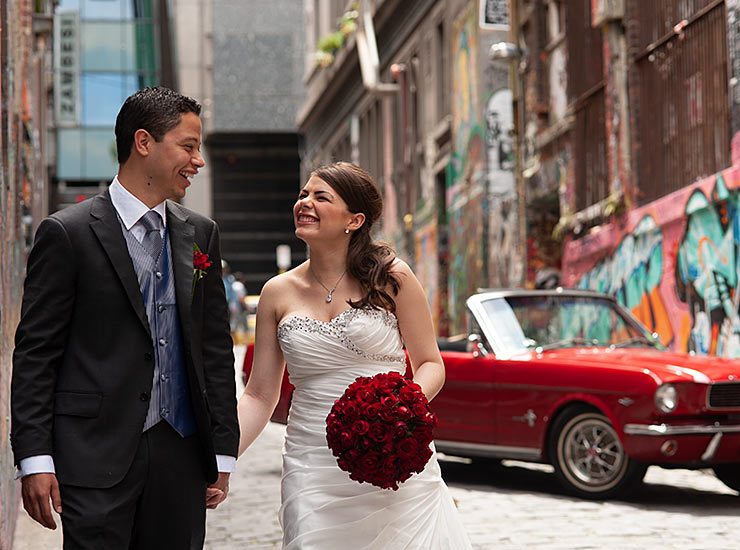 wedding photography with mustang in hosier lane melbourne cbd